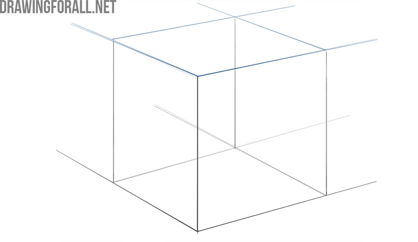 how to draw a 3 dimensional cube