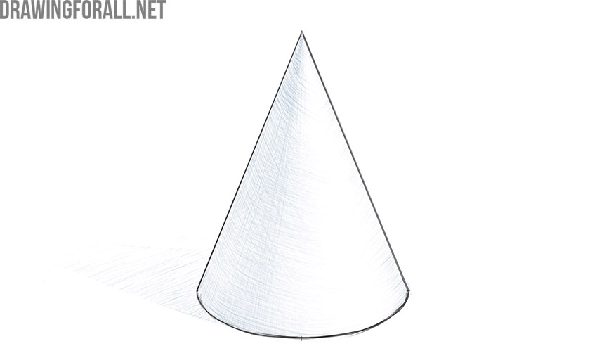 how to draw a cone easy