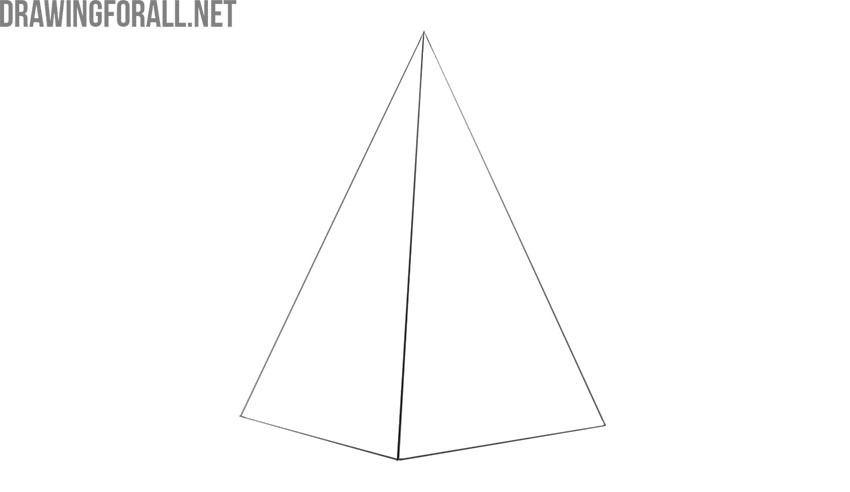 how to draw a pyramid 3d