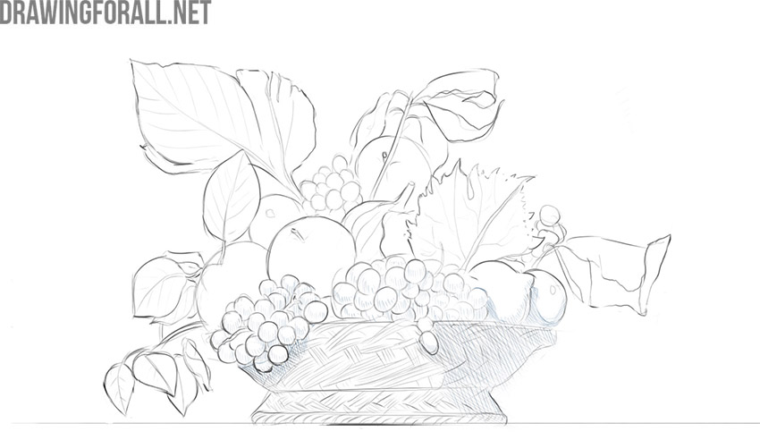how to draw still life fruits