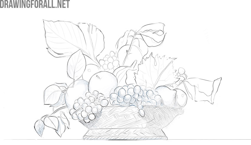 how to draw fruits still life