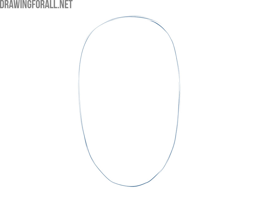 how to draw a male face front view