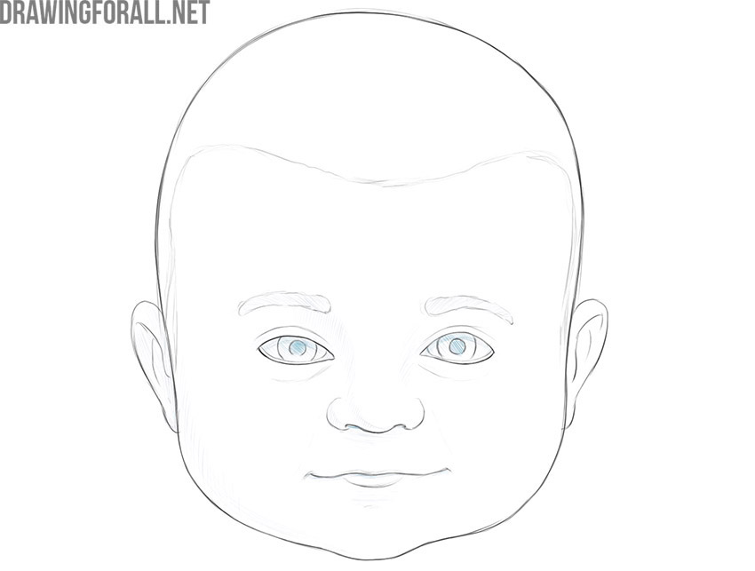 how to draw a baby face easy