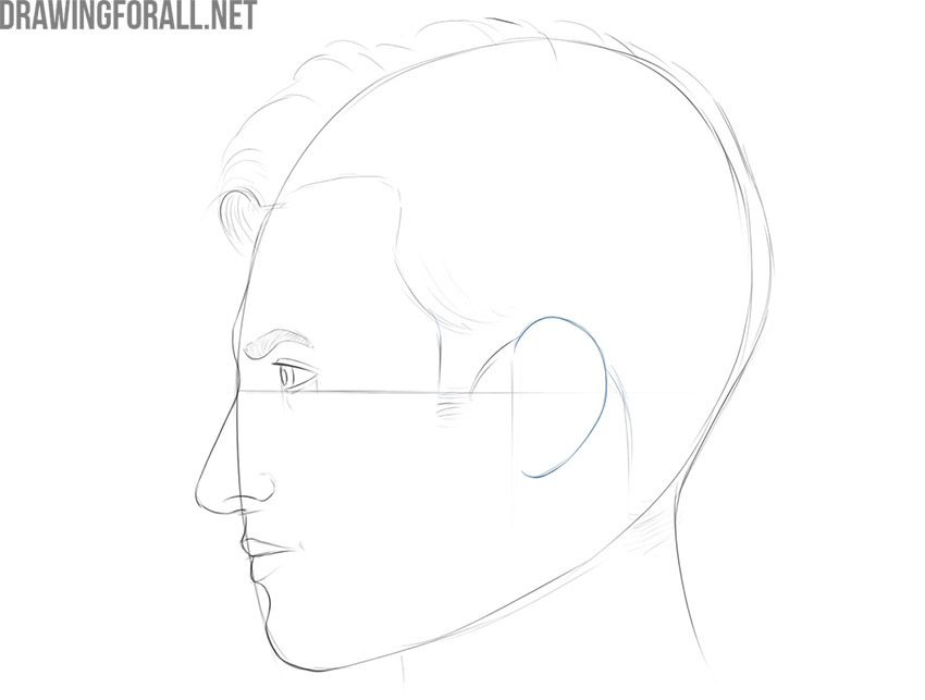 how to draw a face from a side view