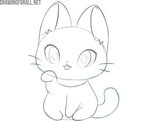 how to draw a kawaii cat easy