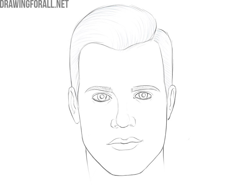 how to draw a male face realistic