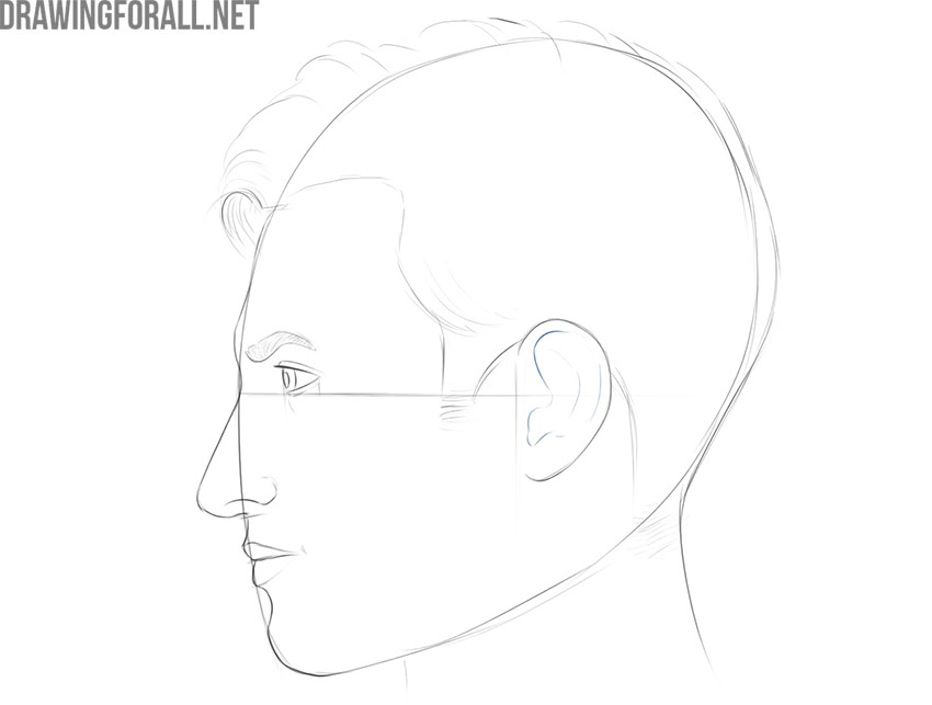 how to draw a realistic face from the side