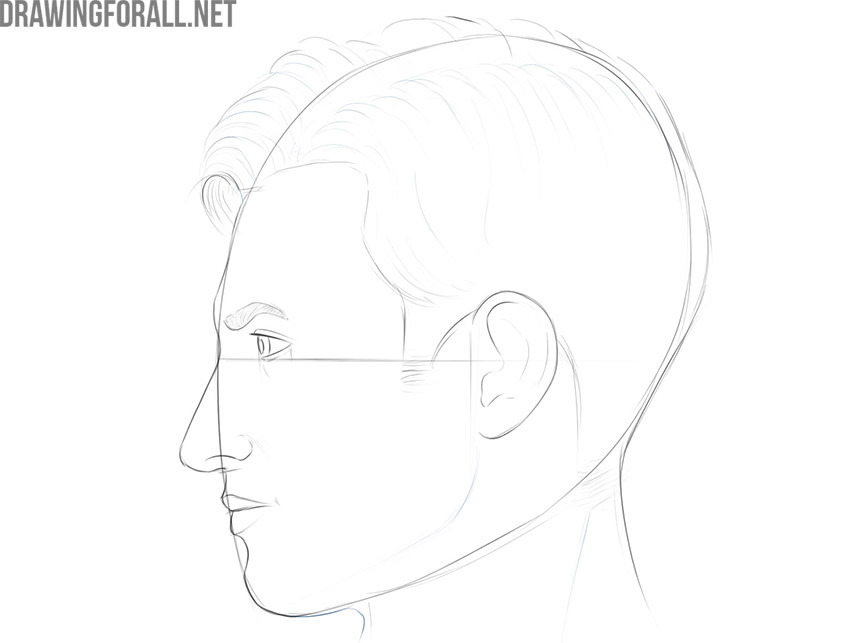 how to draw a male face from the side