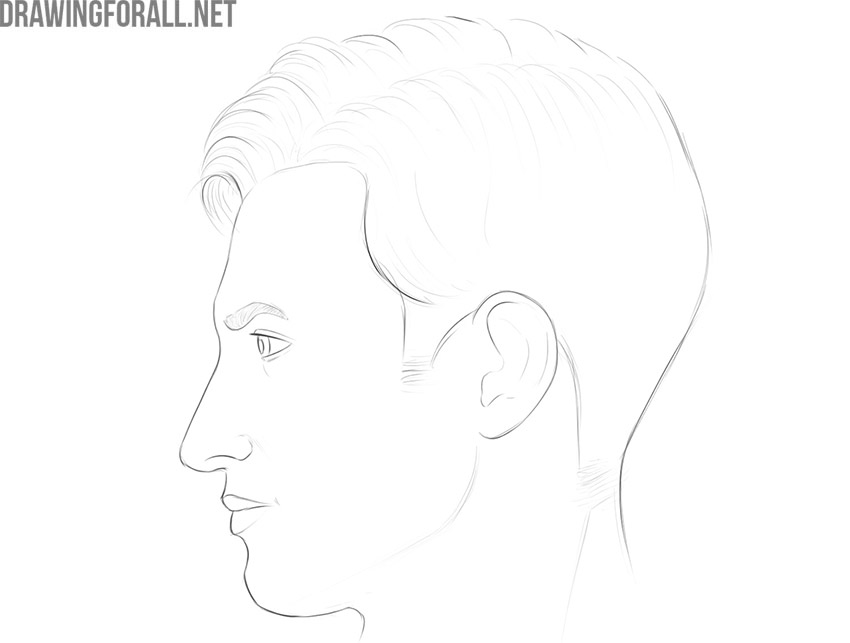 how to draw a face from the side for beginners