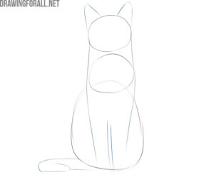 how to draw a simple sitting cat