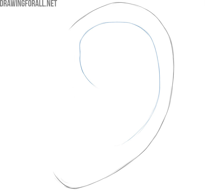 how to draw an ear from the side