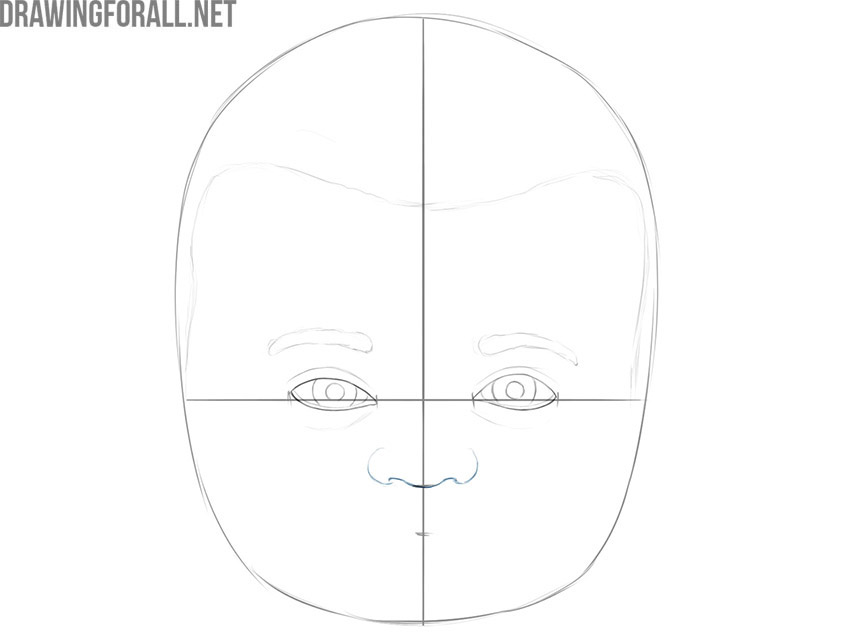how to draw a face of a baby