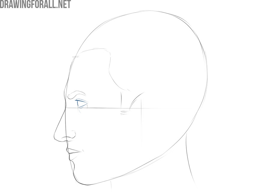 how to draw a guys face from the side