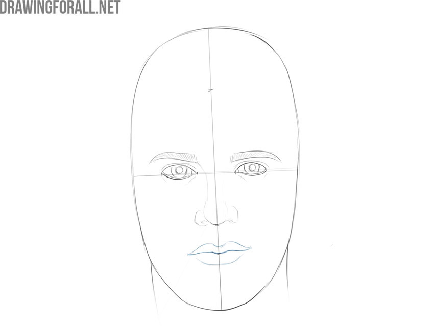 how to draw a male face step by step