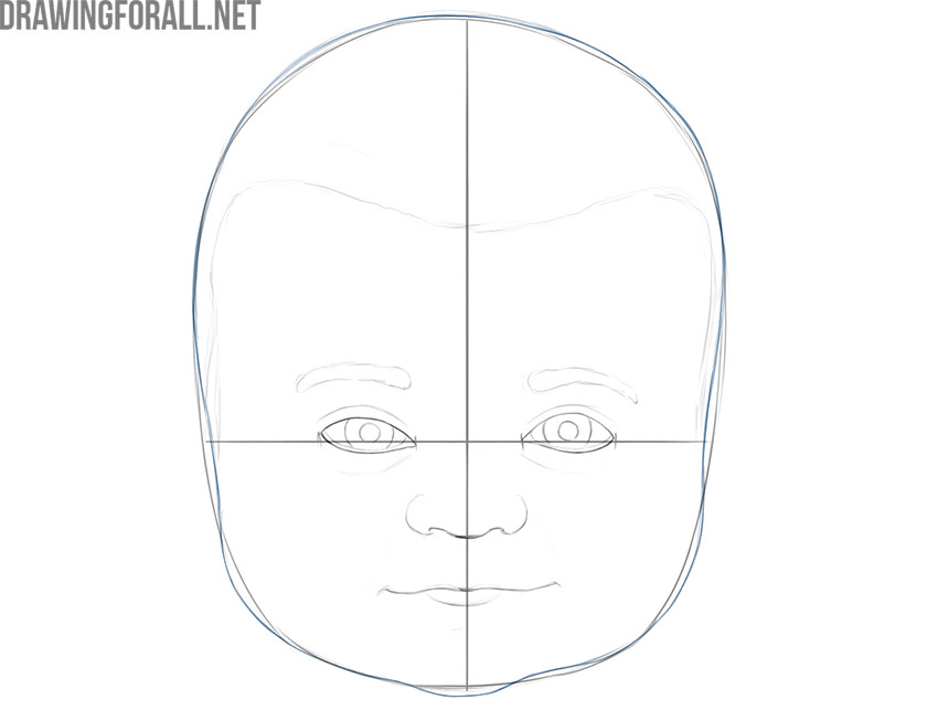 how to draw a baby face realistic