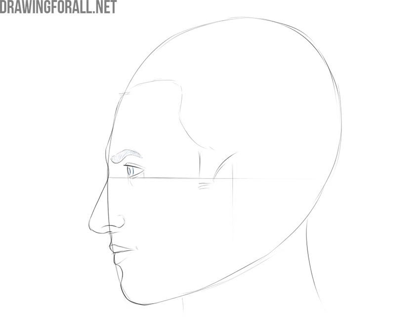 how to draw a face side view easy