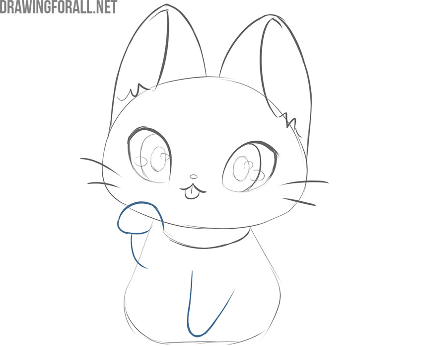 how to draw a kawaii cat step by step