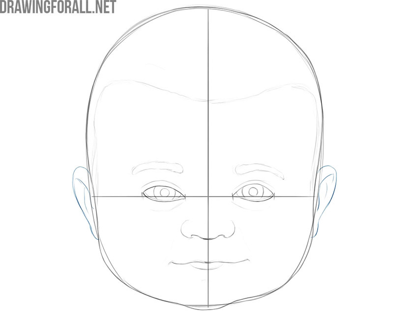 how to draw a baby face step by step