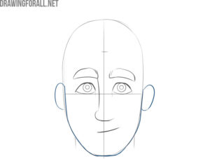how to draw a cartoon male face easy