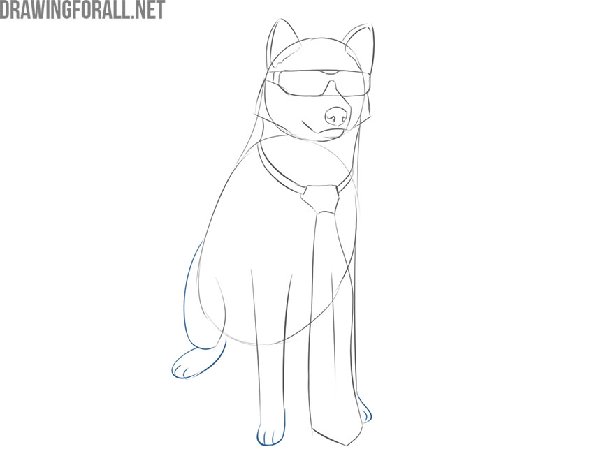 how to draw a cool dog step by step