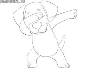 how to draw a dabbing dog easy