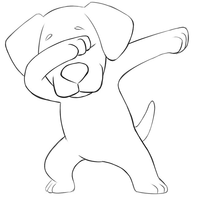 How to Draw a Dabbing Dog