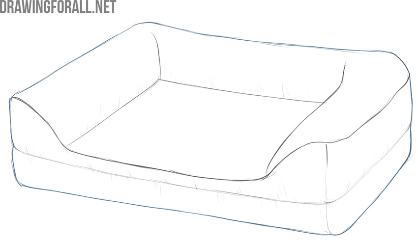 how to draw a dog bed step by step easy