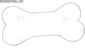 how to draw a dog toy bone