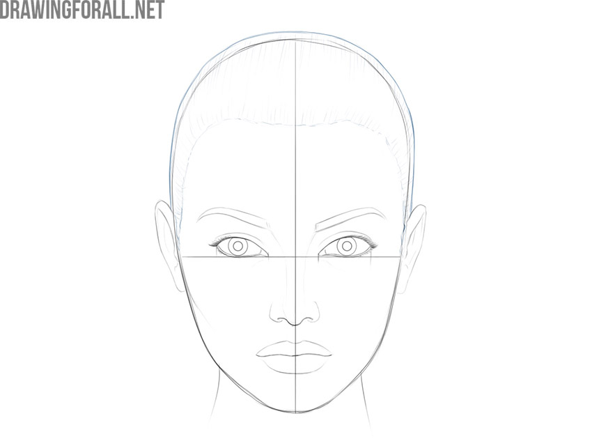 how to draw a female face step by step easy