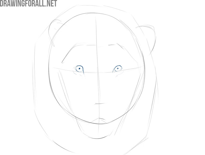 how to draw a lion face step by step in pencil