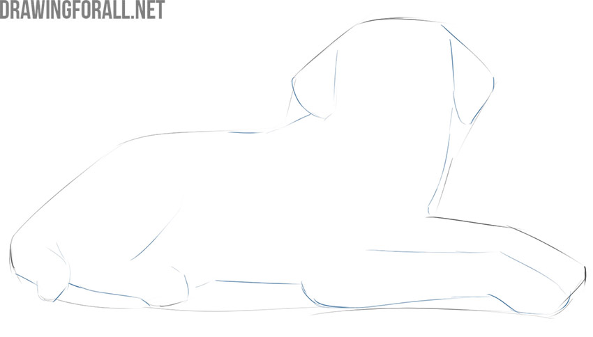 how to draw a lying dog easy